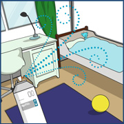 子供部屋・寝室の感染予防・消臭対策イラスト画像