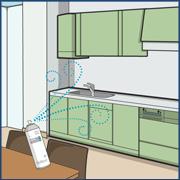キッチンでの感染症予防・消臭対策イラスト画像