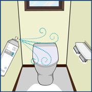トイレでの感染症予防・消臭対策イラスト画像