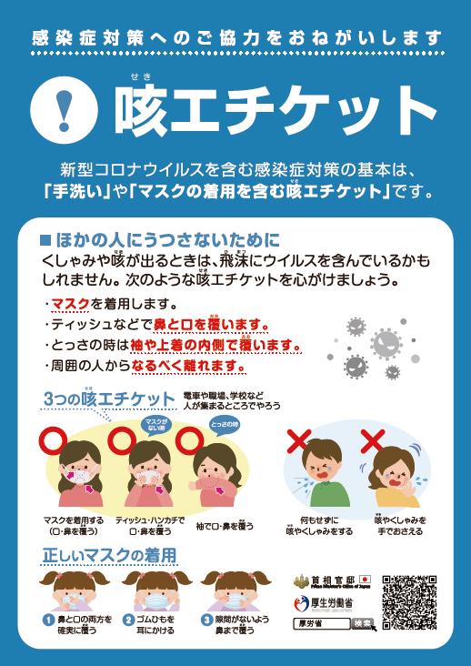 首相官邸、厚生労働省からリリースされている「咳エチケット」に関する資料です。